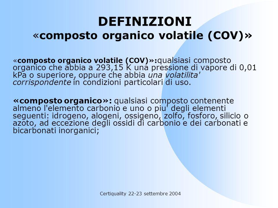 Certiquality 22-23 settembre 2004 Decreto 16 gennaio 2004, n.44 Decreto 16 gennaio 2004, n.44 Recepimento della direttiva 1999/13/CE relativa alla lim