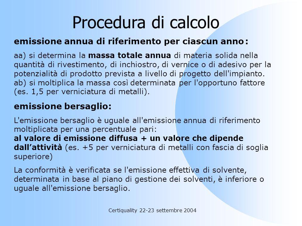 Certiquality 22-23 settembre 2004 Allegato III – prescrizioni alternative all. II scenario emissivo di riferimento: il livello di emissioni totali del