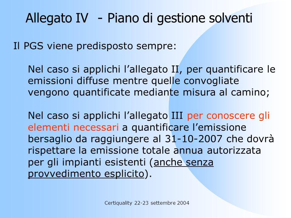 Certiquality 22-23 settembre 2004 Allegato IV - Piano di gestione solventi Il piano di gestione dei solventi ha gli obiettivi seguenti; a) verificare