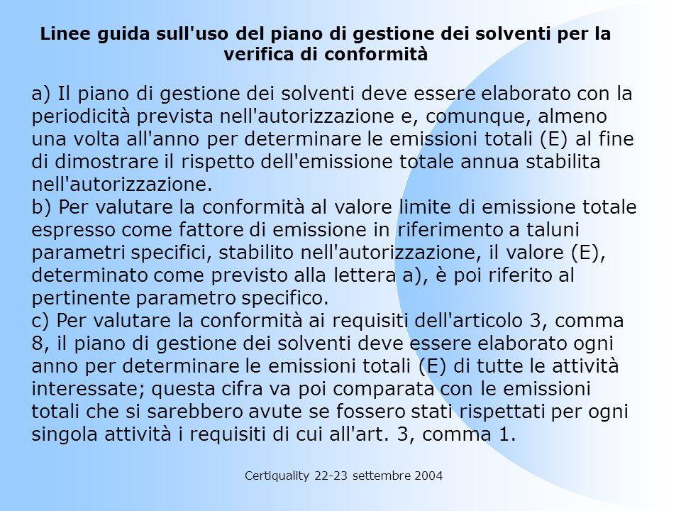 Certiquality 22-23 settembre 2004 Definizioni b) Output di solventi organici (O): O1. Emissioni negli scarichi gassosi O2. Solventi organici scaricati
