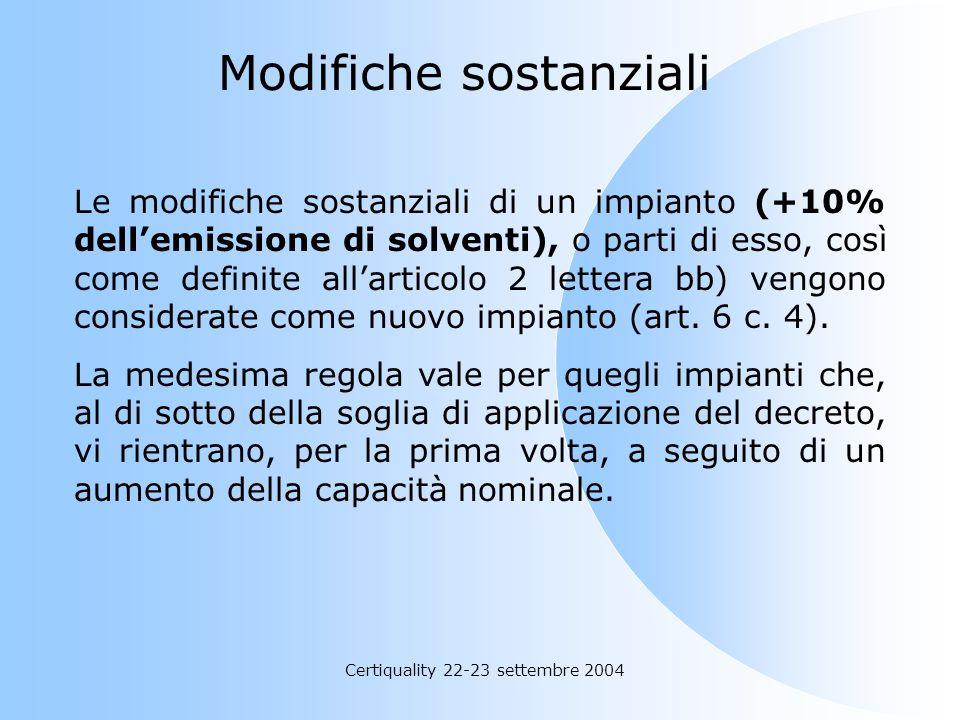 Certiquality 22-23 settembre 2004 Il gestore dellimpianto deve: rispettare le disposizioni autorizzative delle Autorità art. 5 c. 10 (come adesso); fo