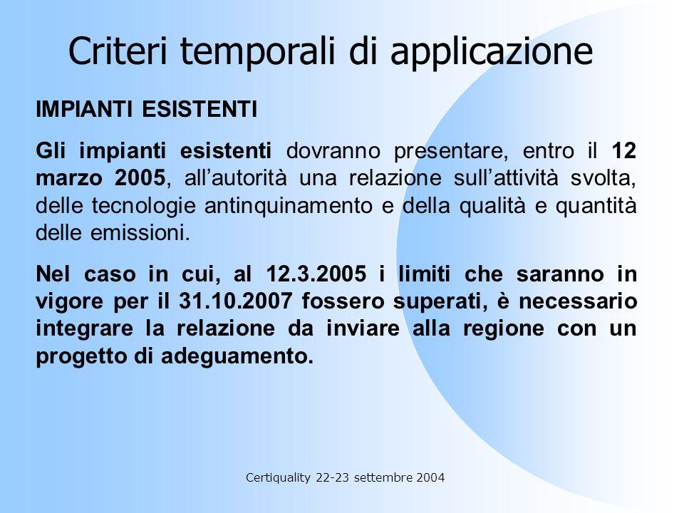 Certiquality 22-23 settembre 2004 NUOVI IMPIANTI Gli impianti nuovi e con essi tutti quelli che rientrano indirettamente in questa definizione, devono