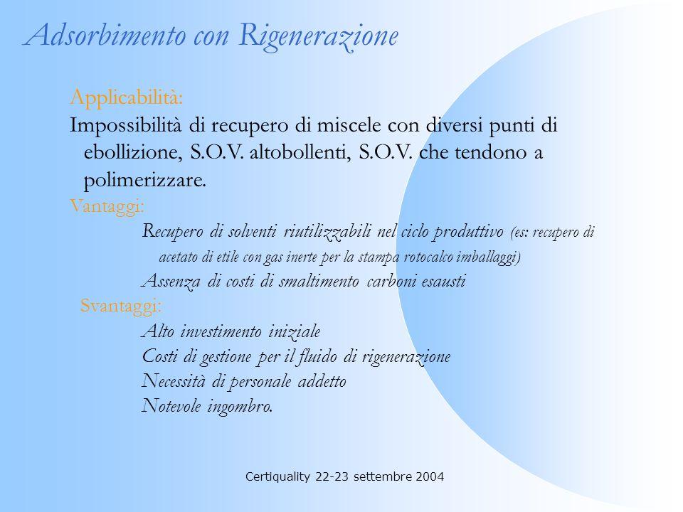 Certiquality 22-23 settembre 2004 Adsorbimento con Carboni a Perdere Applicabilità: Basse concentrazioni di S.O.V. tali da garantire una durata signif