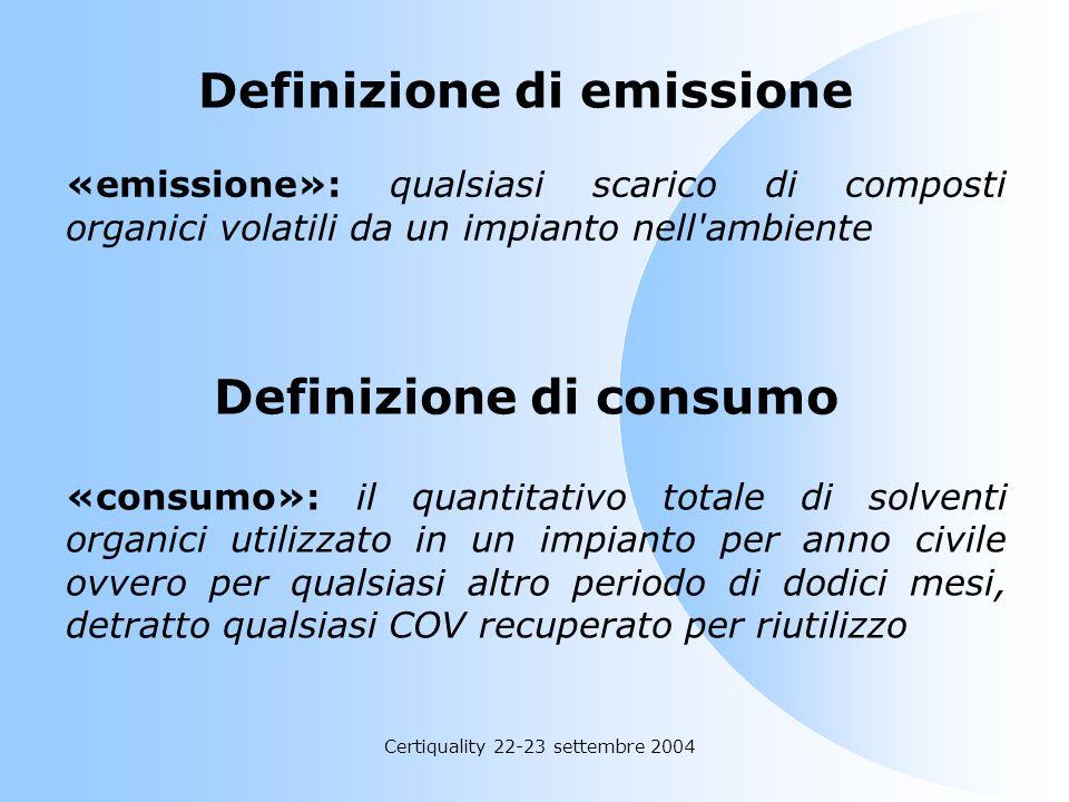 Certiquality 22-23 settembre 2004 Definizione di impianto art. 2, comma 1, lettera r) del D.M. n. 44/04 «impianto»: un'unita' tecnica permanente in cu