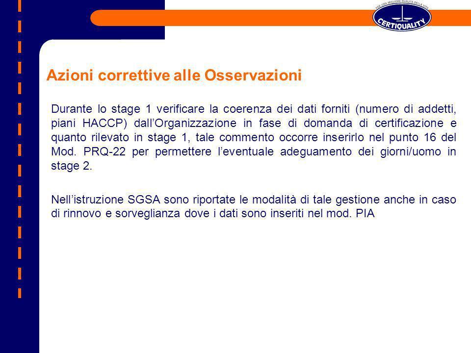 Azioni correttive alle Osservazioni Durante lo stage 1 verificare la coerenza dei dati forniti (numero di addetti, piani HACCP) dallOrganizzazione in