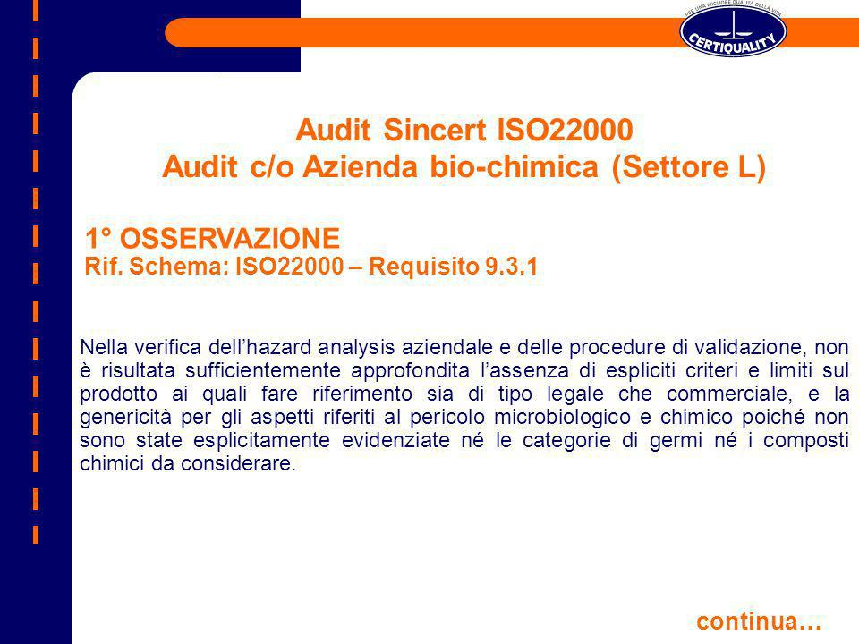Audit Sincert ISO22000 Audit c/o Azienda bio-chimica (Settore L) Nella verifica dellhazard analysis aziendale e delle procedure di validazione, non è