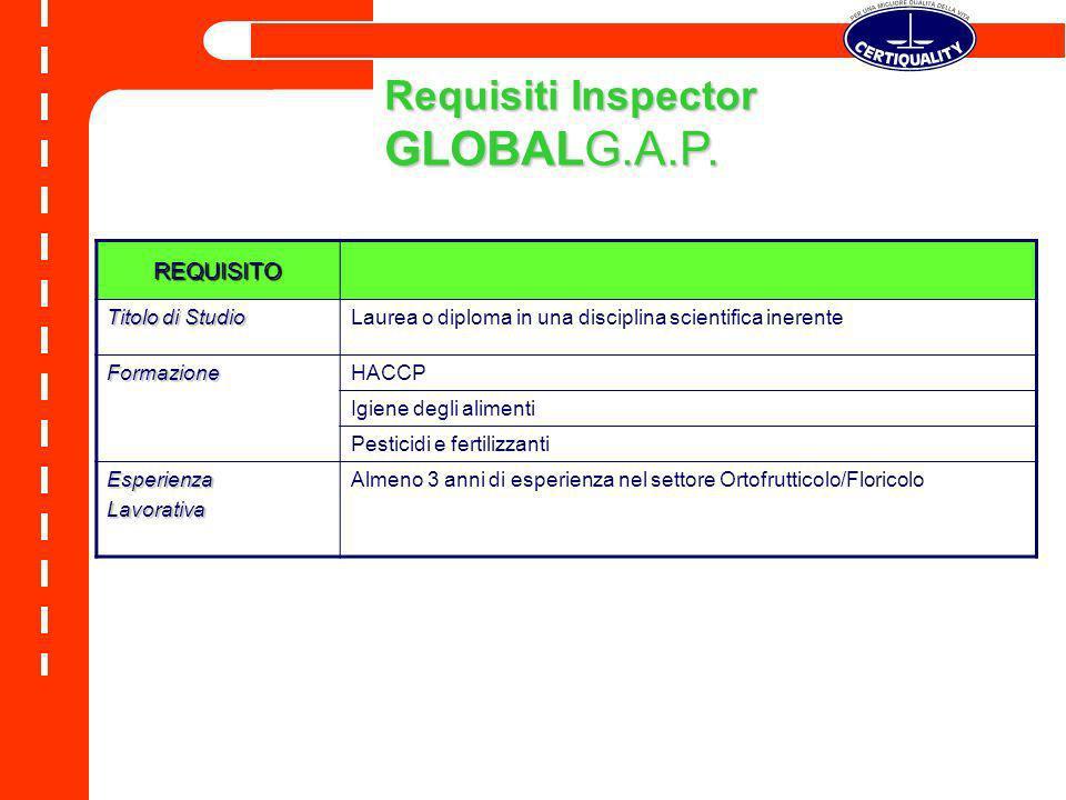 Requisiti Inspector GLOBALG.A.P. REQUISITO Titolo di Studio Laurea o diploma in una disciplina scientifica inerente FormazioneHACCP Igiene degli alime