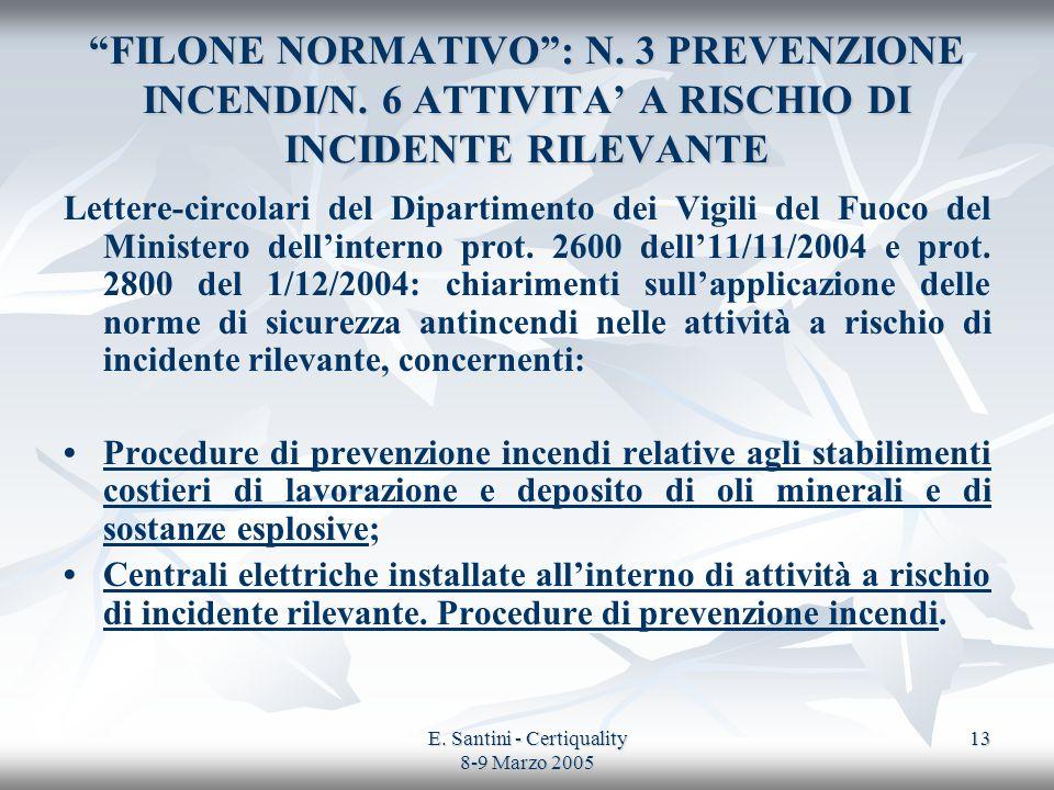 E. Santini - Certiquality 8-9 Marzo 2005 13 FILONE NORMATIVO: N. 3 PREVENZIONE INCENDI/N. 6 ATTIVITA A RISCHIO DI INCIDENTE RILEVANTE Lettere-circolar