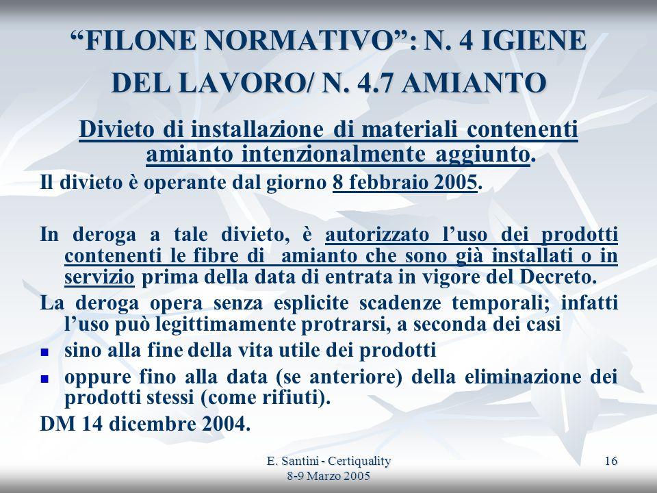 E. Santini - Certiquality 8-9 Marzo 2005 16 FILONE NORMATIVO: N. 4 IGIENE DEL LAVORO/ N. 4.7 AMIANTO Divieto di installazione di materiali contenenti