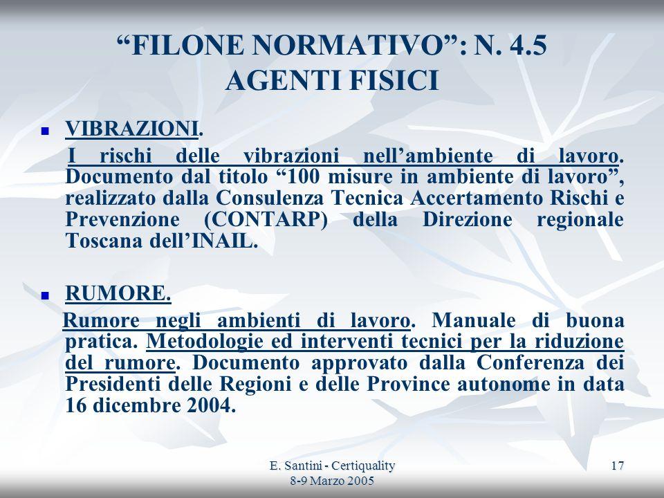 E. Santini - Certiquality 8-9 Marzo 2005 17 FILONE NORMATIVO: N. 4.5 AGENTI FISICI VIBRAZIONI. I rischi delle vibrazioni nellambiente di lavoro. Docum