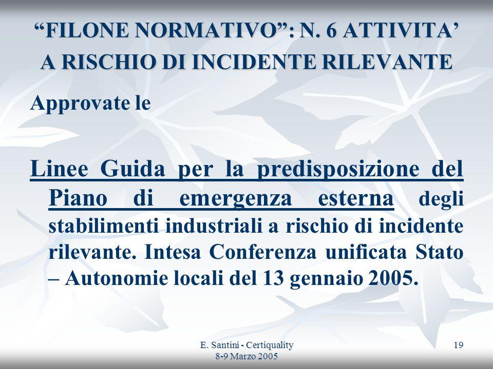 E. Santini - Certiquality 8-9 Marzo 2005 19 FILONE NORMATIVO: N. 6 ATTIVITA A RISCHIO DI INCIDENTE RILEVANTE Approvate le Linee Guida per la predispos