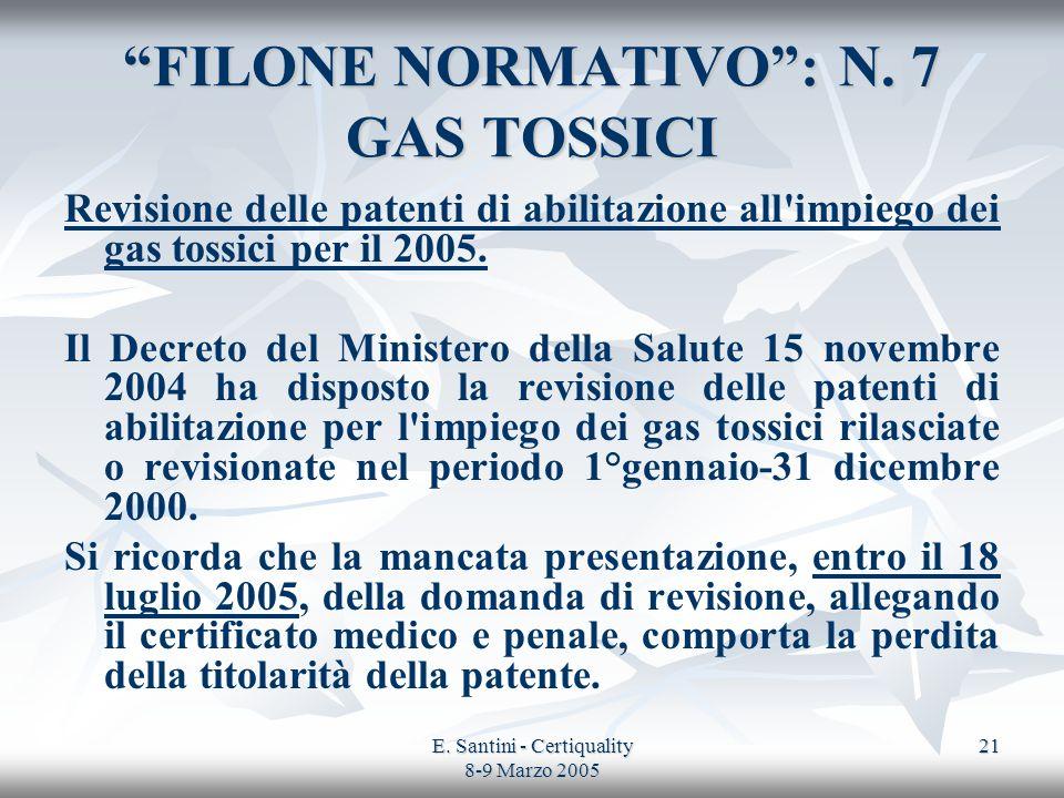 E. Santini - Certiquality 8-9 Marzo 2005 21 FILONE NORMATIVO: N. 7 GAS TOSSICI Revisione delle patenti di abilitazione all'impiego dei gas tossici per