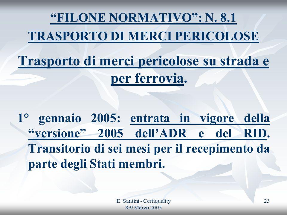 E. Santini - Certiquality 8-9 Marzo 2005 23 FILONE NORMATIVO: N. 8.1 TRASPORTO DI MERCI PERICOLOSE Trasporto di merci pericolose su strada e per ferro