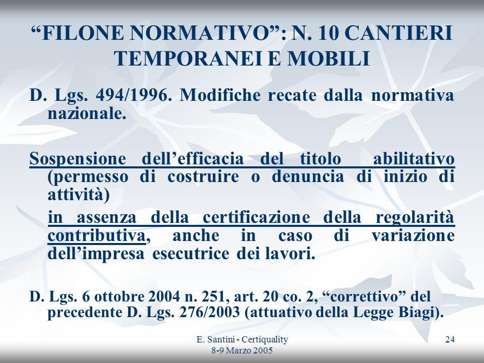 E. Santini - Certiquality 8-9 Marzo 2005 24 FILONE NORMATIVO: N. 10 CANTIERI TEMPORANEI E MOBILI D. Lgs. 494/1996. Modifiche recate dalla normativa na