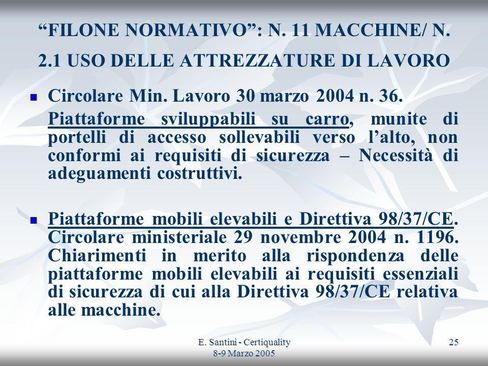 E. Santini - Certiquality 8-9 Marzo 2005 25 FILONE NORMATIVO: N. 11 MACCHINE/ N. 2.1 USO DELLE ATTREZZATURE DI LAVORO Circolare Min. Lavoro 30 marzo 2
