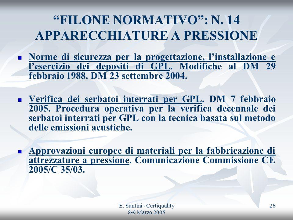 E. Santini - Certiquality 8-9 Marzo 2005 26 FILONE NORMATIVO: N. 14 APPARECCHIATURE A PRESSIONE Norme di sicurezza per la progettazione, linstallazion