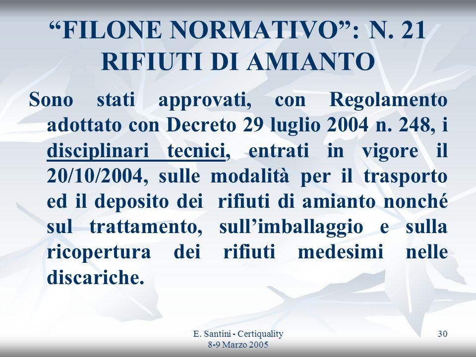 E. Santini - Certiquality 8-9 Marzo 2005 30 FILONE NORMATIVO: N. 21 RIFIUTI DI AMIANTO Sono stati approvati, con Regolamento adottato con Decreto 29 l