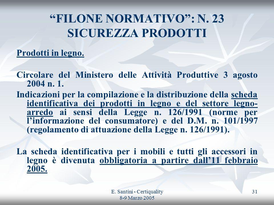 E. Santini - Certiquality 8-9 Marzo 2005 31 FILONE NORMATIVO: N. 23 SICUREZZA PRODOTTI Prodotti in legno. Circolare del Ministero delle Attività Produ