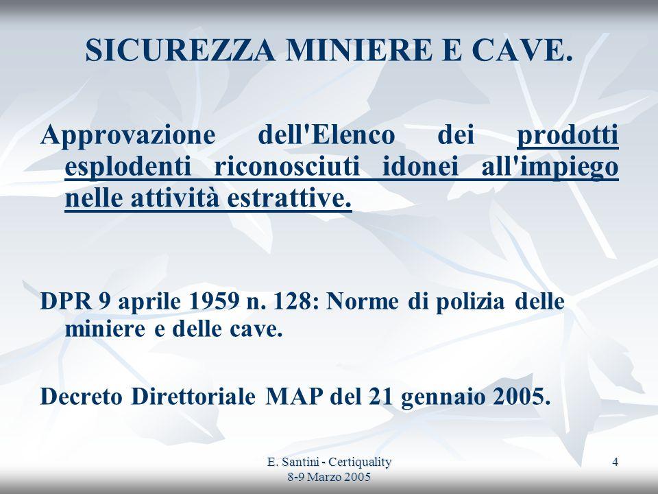 E. Santini - Certiquality 8-9 Marzo 2005 4 SICUREZZA MINIERE E CAVE. Approvazione dell'Elenco dei prodotti esplodenti riconosciuti idonei all'impiego