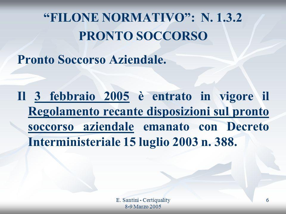 E. Santini - Certiquality 8-9 Marzo 2005 6 FILONE NORMATIVO: N. 1.3.2 PRONTO SOCCORSO Pronto Soccorso Aziendale. Il 3 febbraio 2005 è entrato in vigor