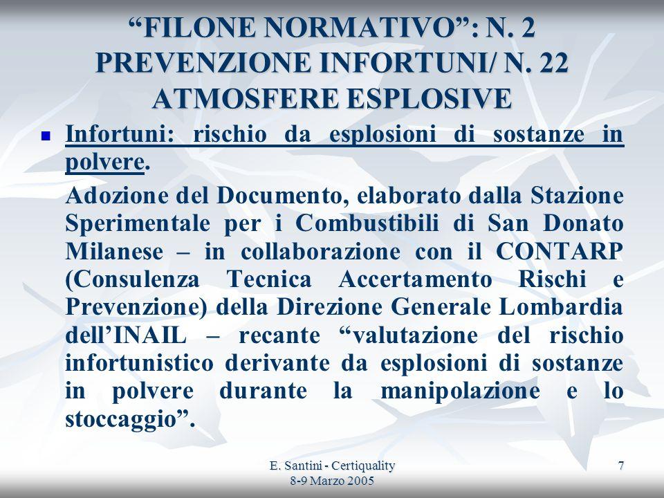 E. Santini - Certiquality 8-9 Marzo 2005 7 FILONE NORMATIVO: N. 2 PREVENZIONE INFORTUNI/ N. 22 ATMOSFERE ESPLOSIVE Infortuni: rischio da esplosioni di