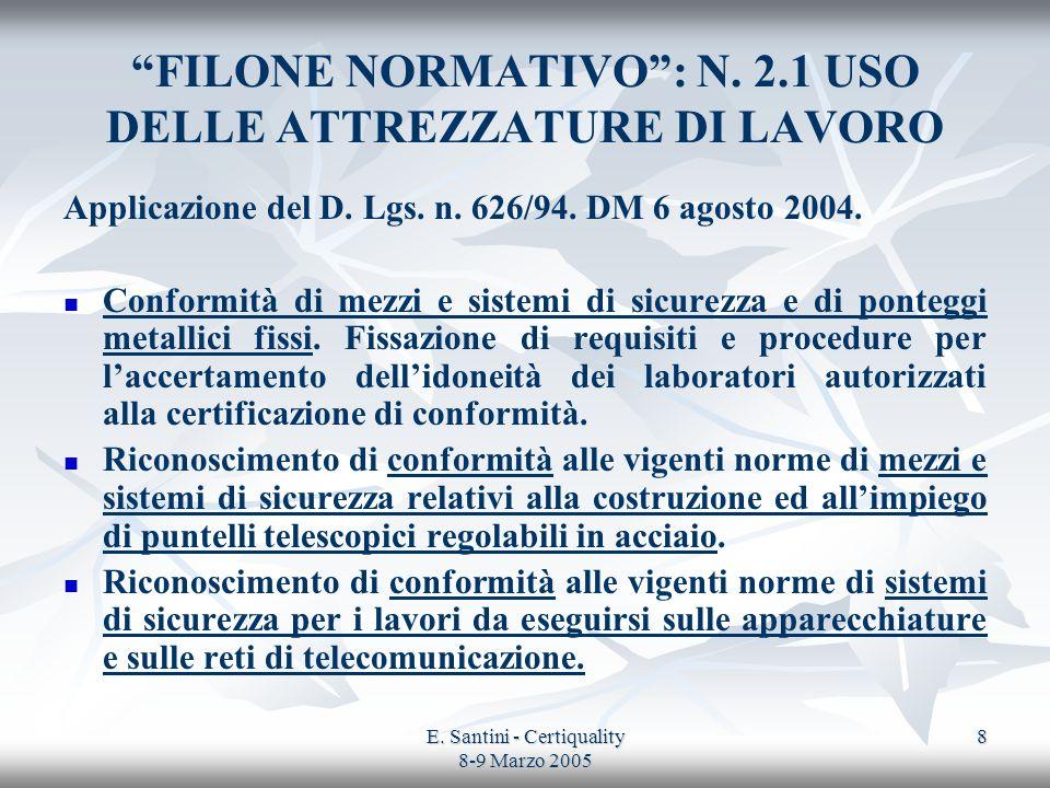 E. Santini - Certiquality 8-9 Marzo 2005 8 FILONE NORMATIVO: N. 2.1 USO DELLE ATTREZZATURE DI LAVORO Applicazione del D. Lgs. n. 626/94. DM 6 agosto 2