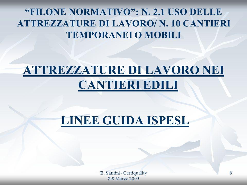 E. Santini - Certiquality 8-9 Marzo 2005 9 FILONE NORMATIVO: N. 2.1 USO DELLE ATTREZZATURE DI LAVORO/ N. 10 CANTIERI TEMPORANEI O MOBILI ATTREZZATURE