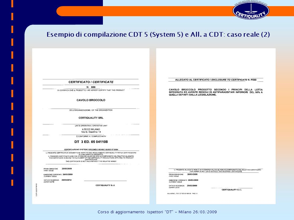 Esempio di compilazione CDT 5 (System 5) e All. a CDT: caso reale (2) Corso di aggiornamento Ispettori DT - Milano 26/03/2009