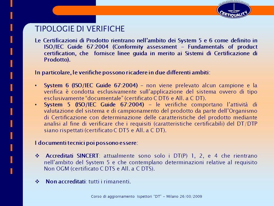 TIPOLOGIE DI VERIFICHE Le Certificazioni di Prodotto rientrano nellambito dei System 5 e 6 come definito in ISO/IEC Guide 67:2004 (Conformity assessme