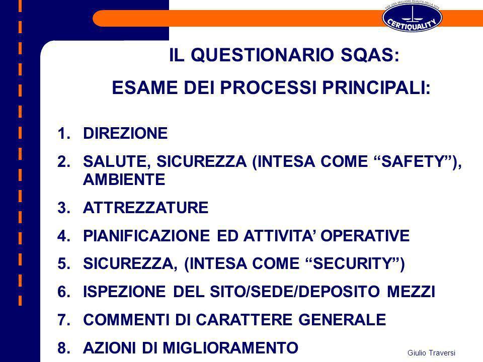 IL QUESTIONARIO SQAS: ESAME DEI PROCESSI PRINCIPALI: 1.DIREZIONE 2.SALUTE, SICUREZZA (INTESA COME SAFETY), AMBIENTE 3.ATTREZZATURE 4.PIANIFICAZIONE ED
