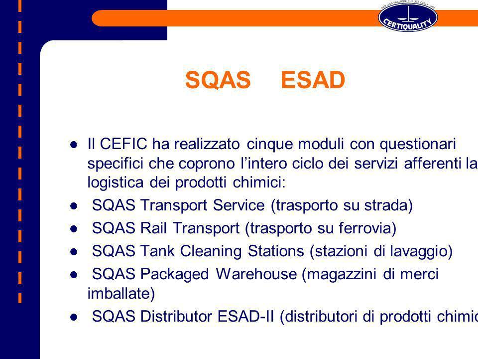 SQASESAD Il CEFIC ha realizzato cinque moduli con questionari specifici che coprono lintero ciclo dei servizi afferenti la logistica dei prodotti chim