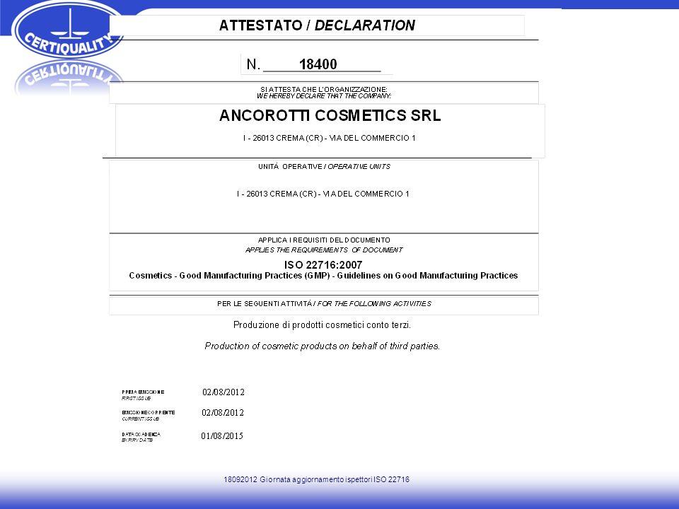 18092012 Giornata aggiornamento ispettori ISO 22716
