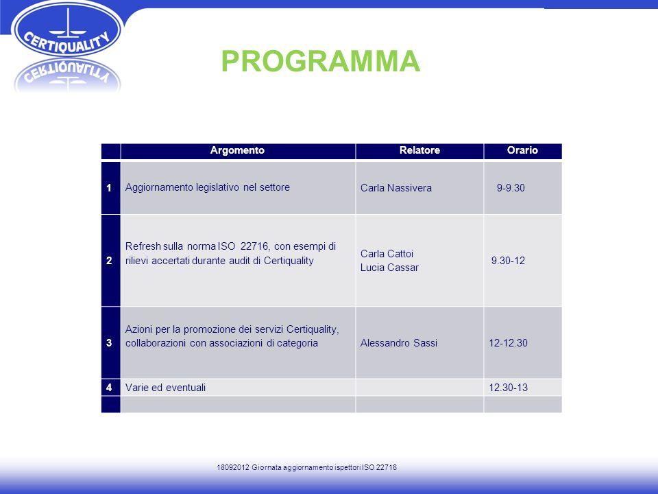 PROGRAMMA ArgomentoRelatoreOrario 1 Aggiornamento legislativo nel settore Carla Nassivera 9-9.30 2 Refresh sulla norma ISO 22716, con esempi di riliev
