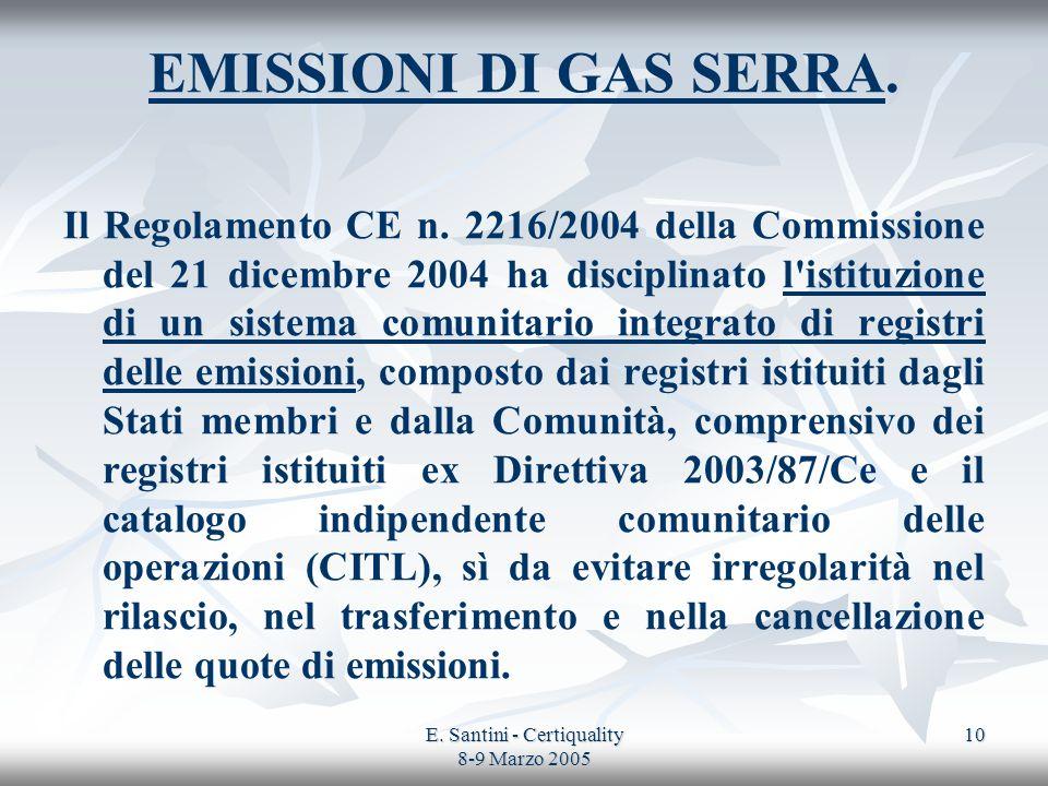 E. Santini - Certiquality 8-9 Marzo 2005 10 EMISSIONI DI GAS SERRA. Il Regolamento CE n. 2216/2004 della Commissione del 21 dicembre 2004 ha disciplin
