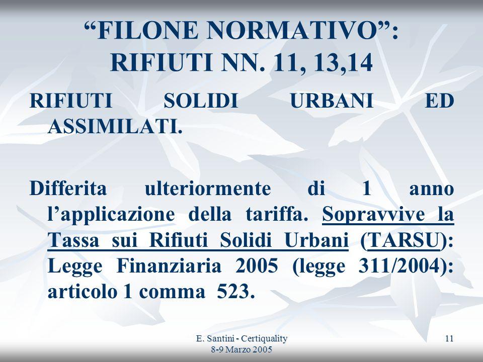 E. Santini - Certiquality 8-9 Marzo 2005 11 FILONE NORMATIVO: RIFIUTI NN. 11, 13,14 RIFIUTI SOLIDI URBANI ED ASSIMILATI. Differita ulteriormente di 1