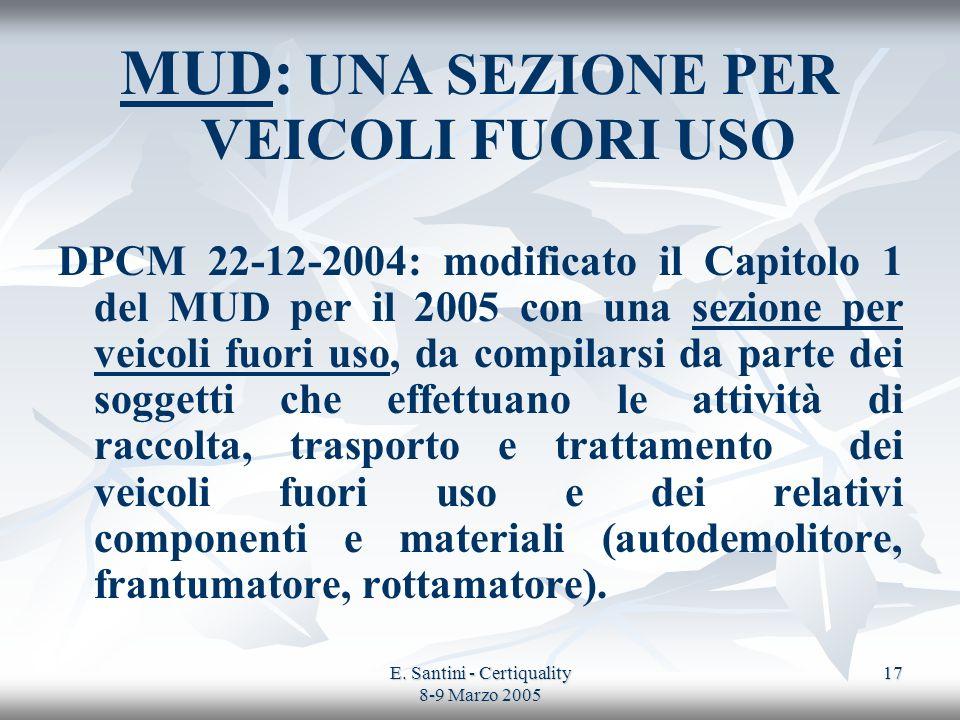 E. Santini - Certiquality 8-9 Marzo 2005 17 MUD: UNA SEZIONE PER VEICOLI FUORI USO DPCM 22-12-2004: modificato il Capitolo 1 del MUD per il 2005 con u