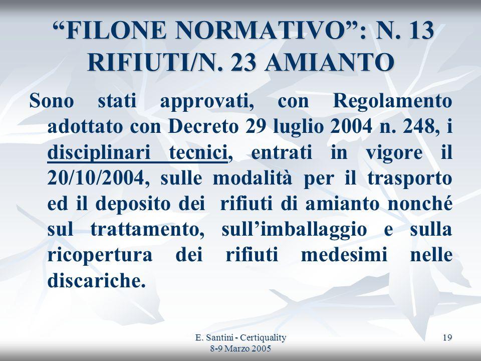 E. Santini - Certiquality 8-9 Marzo 2005 19 FILONE NORMATIVO: N. 13 RIFIUTI/N. 23 AMIANTO FILONE NORMATIVO: N. 13 RIFIUTI/N. 23 AMIANTO Sono stati app