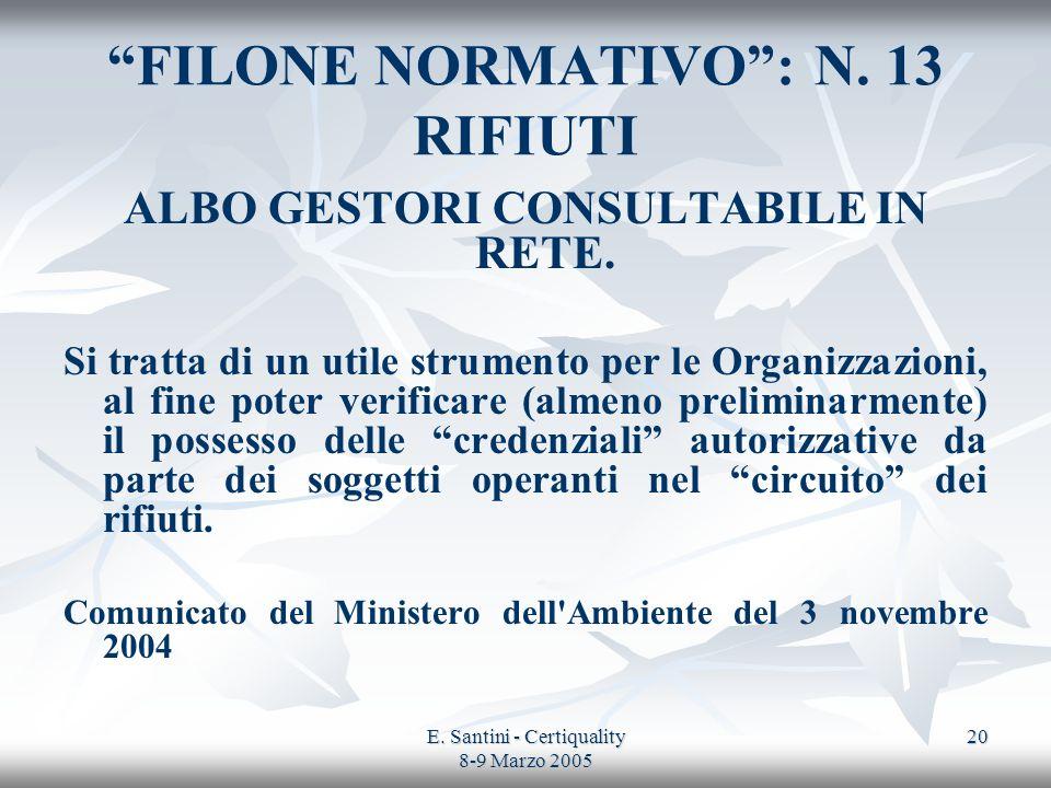 E. Santini - Certiquality 8-9 Marzo 2005 20 FILONE NORMATIVO: N. 13 RIFIUTI ALBO GESTORI CONSULTABILE IN RETE. Si tratta di un utile strumento per le