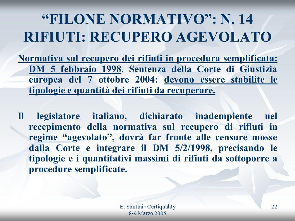 E. Santini - Certiquality 8-9 Marzo 2005 22 FILONE NORMATIVO: N. 14 RIFIUTI: RECUPERO AGEVOLATO Normativa sul recupero dei rifiuti in procedura sempli