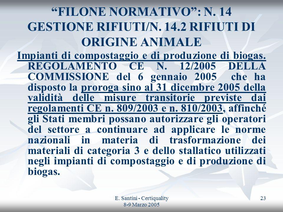 E. Santini - Certiquality 8-9 Marzo 2005 23 FILONE NORMATIVO: N. 14 GESTIONE RIFIUTI/N. 14.2 RIFIUTI DI ORIGINE ANIMALE Impianti di compostaggio e di