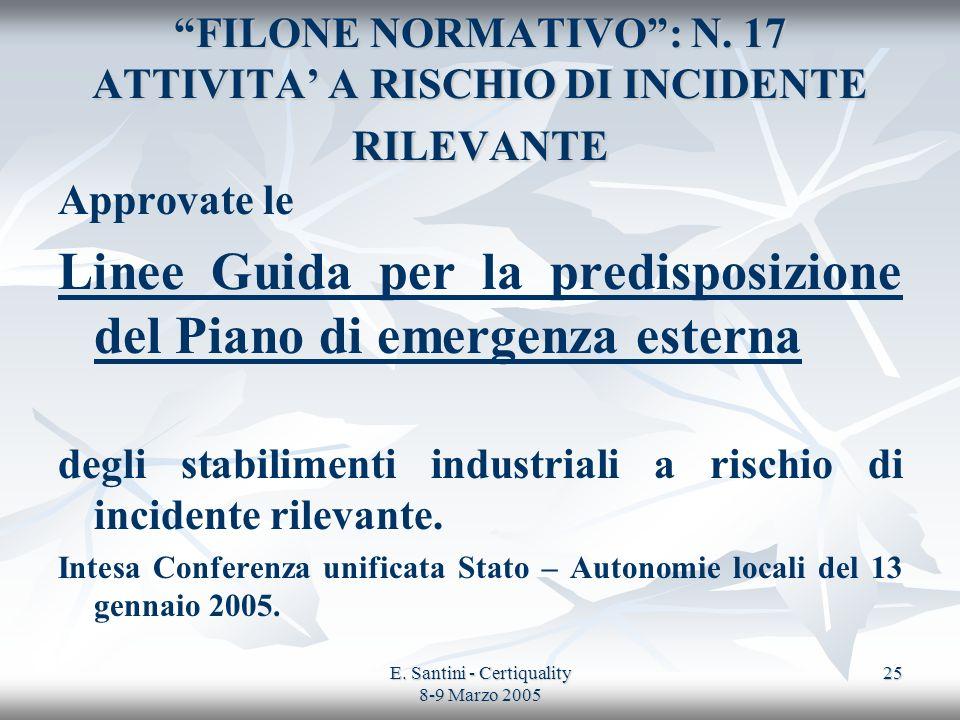E. Santini - Certiquality 8-9 Marzo 2005 25 FILONE NORMATIVO: N. 17 ATTIVITA A RISCHIO DI INCIDENTE RILEVANTE Approvate le Linee Guida per la predispo