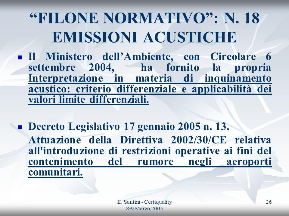 E. Santini - Certiquality 8-9 Marzo 2005 26 FILONE NORMATIVO: N. 18 EMISSIONI ACUSTICHE Il Ministero dellAmbiente, con Circolare 6 settembre 2004, ha
