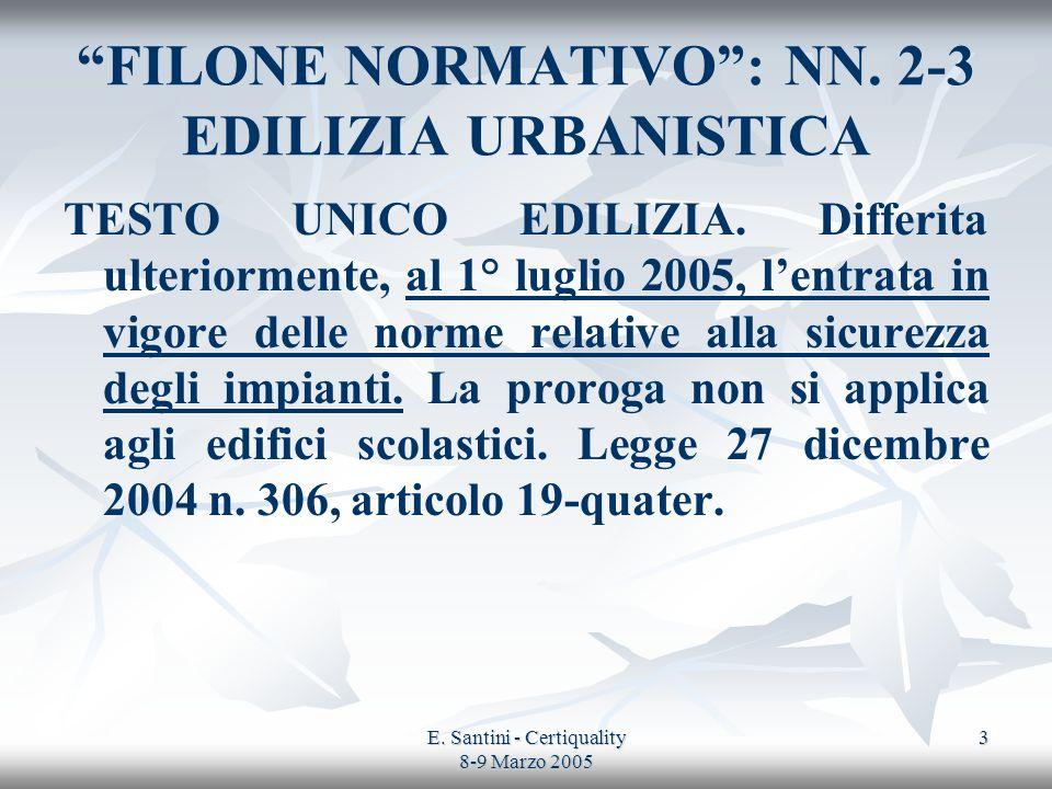 E. Santini - Certiquality 8-9 Marzo 2005 3 FILONE NORMATIVO: NN. 2-3 EDILIZIA URBANISTICA TESTO UNICO EDILIZIA. Differita ulteriormente, al 1° luglio