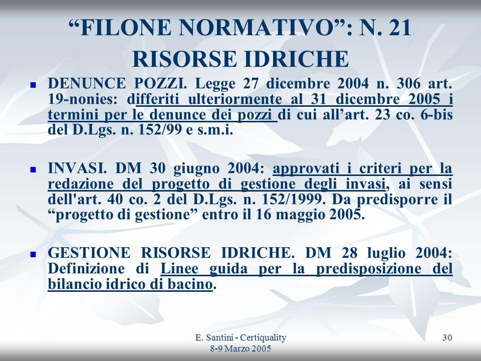 E. Santini - Certiquality 8-9 Marzo 2005 30 FILONE NORMATIVO: N. 21 RISORSE IDRICHE DENUNCE POZZI. Legge 27 dicembre 2004 n. 306 art. 19-nonies: diffe