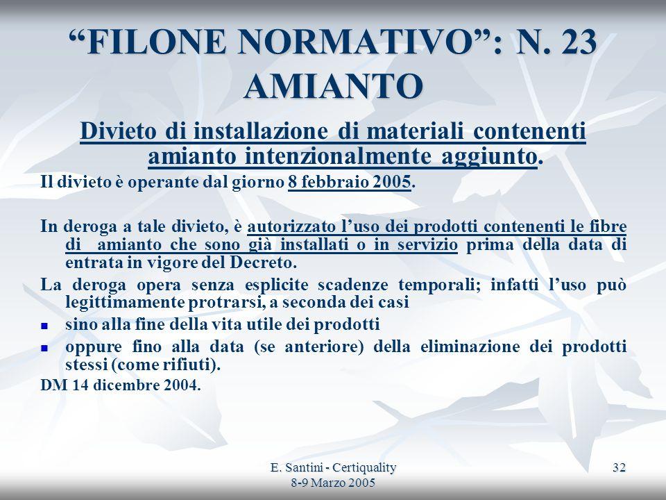 E. Santini - Certiquality 8-9 Marzo 2005 32 FILONE NORMATIVO: N. 23 AMIANTO Divieto di installazione di materiali contenenti amianto intenzionalmente