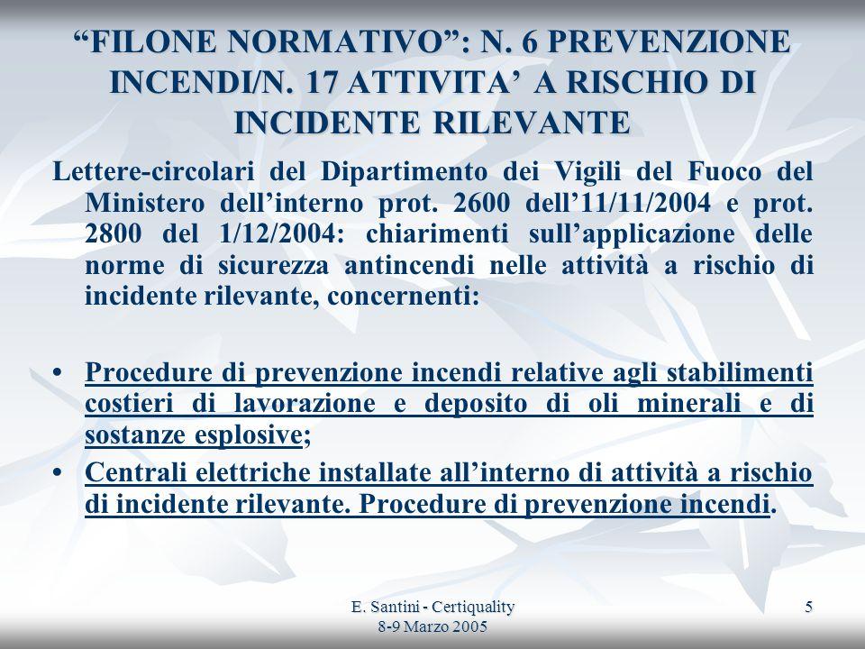 E. Santini - Certiquality 8-9 Marzo 2005 5 FILONE NORMATIVO: N. 6 PREVENZIONE INCENDI/N. 17 ATTIVITA A RISCHIO DI INCIDENTE RILEVANTE Lettere-circolar