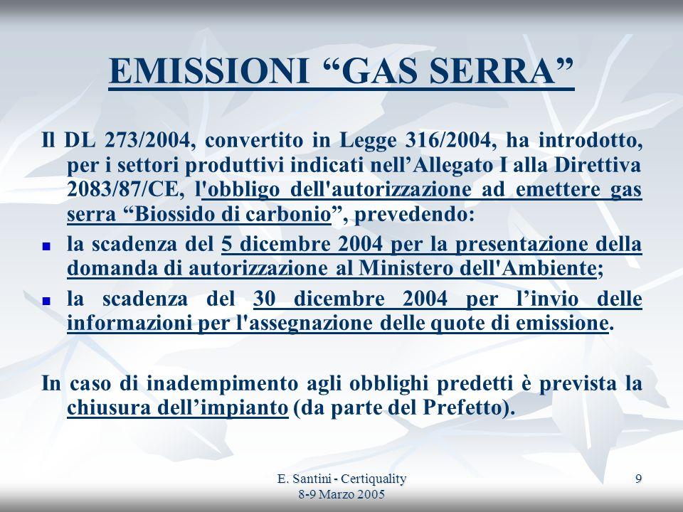E. Santini - Certiquality 8-9 Marzo 2005 9 EMISSIONI GAS SERRA Il DL 273/2004, convertito in Legge 316/2004, ha introdotto, per i settori produttivi i