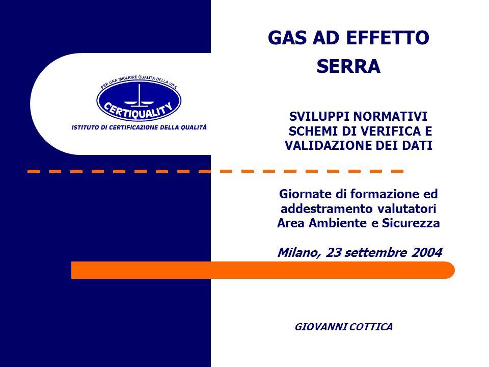 GAS AD EFFETTO SERRA GIOVANNI COTTICA Giornate di formazione ed addestramento valutatori Area Ambiente e Sicurezza Milano, 23 settembre 2004 SVILUPPI
