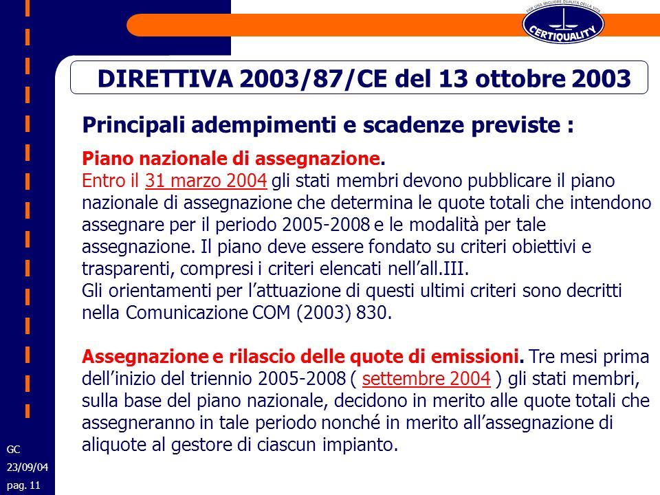 Principali adempimenti e scadenze previste : Piano nazionale di assegnazione. Entro il 31 marzo 2004 gli stati membri devono pubblicare il piano nazio