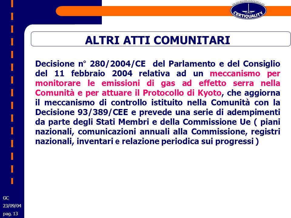 ALTRI ATTI COMUNITARI Decisione n° 280/2004/CE del Parlamento e del Consiglio del 11 febbraio 2004 relativa ad un meccanismo per monitorare le emissio